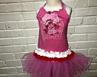 12M 18M 24M 2T Girls Ruffled Halter Dress from Thrift Store Vintage Tshirt Strawberry 80s Pink Tutu Birthday Party
