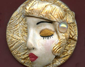 Polymer Clay 3 D Layered Art Nouveau Detailed  Golden Lady  Face Cab GDAN 1