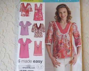 Simplicity 0631 Sewing Pattern Pullover Tunics with Sleeve or Trim Variations in Womens Size R5 14-16-18-20-22