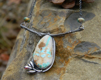 Royston Turquoise Necklace with silver succulent and twig - sterling silver - oxidized and rustic