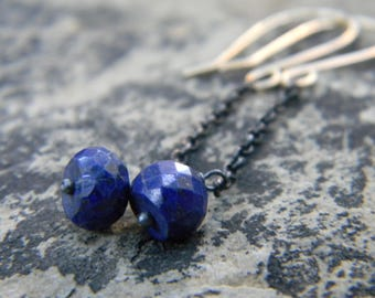Blue Lapis Swinger earrings on oxidized silver chain and and 14k Gold filled earwires