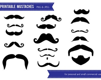 Mustache Digital Clip Art - INSTANT DOWNLOAD