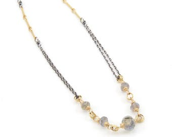 Linked Labradorite Necklace- labradorite, sterling silver, gold fill.