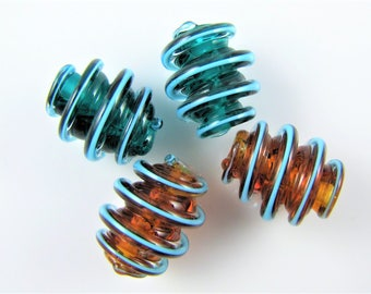Teal and Topaz Corkscrew Lampwork Glass Bead Pairs