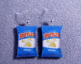 Ruffles Original Potato Chips Kitsch Dangle Polymer Clay Junk Food Earrings Hypo Allergenic Nickle-Free 2016