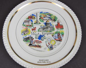 Vintage Souvenir Plate West Virginia Hawk's Nest State Park WV Coal Capital Glassware State Collector Decorator