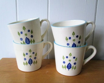 4 vintage Swiss Chalet mugs by Marcrest Stetson