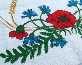 Vintage Kitsch Tea Towel - Red Poppies and Blue Cornflowers with Wheat Sprays on a White Linen Background