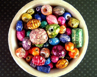 BRIGHT Glass Bead Mix, 7mm, 15mm, NEW Wholesale, 7 Ounces, Colorful Chunky Beads, Tribal India Glass Beads, Bright Mottled Beads  X13