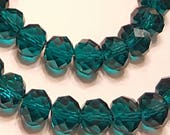 10mm Glass Beads - 30 pcs - 10mm Dark Turquoise  Beads - Faceted Glass Beads - 10mm x 7mm - Turquoise Rondelles - Dark Turquoise