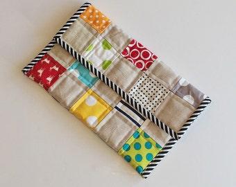 Linen patchwork kindle case