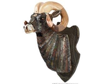 Black Sheep Faux Taxidermy Big Horn Sheep Wall Sculpture