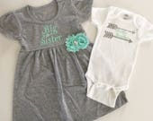 Big sister - little brother set... grey and mint green--- new baby-- sibling set