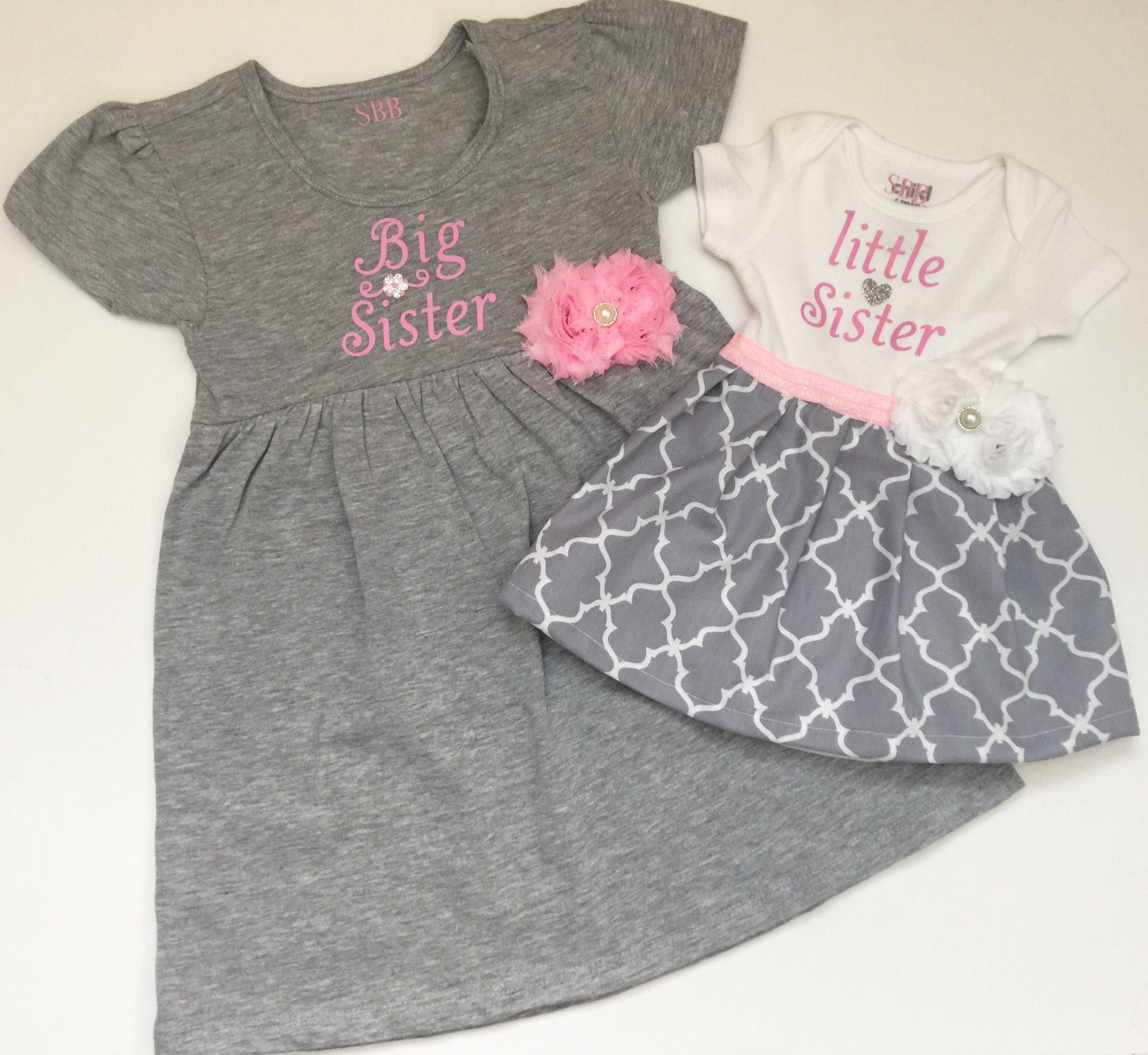 Big Sister Little Sister OUTFITS Shabby chic Pink and grey dress