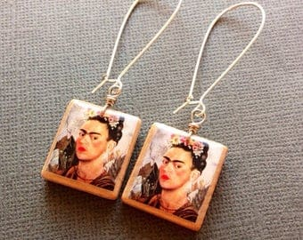 Frida Kahlo Scrabble Earrings - Repurposed Recycled  Scrabble tiles - Upcycled jewelry  wood Earrings - letter tiles - wood jewelry - dangle
