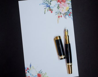 Bold Bouquets, social stationery set, letter writing set, hand written letters, 30 pieces, lined or unlined, personal correspondence
