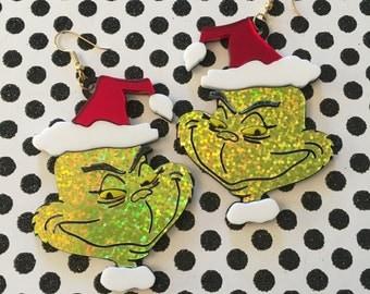 The Grinch Christmas Acrylic Earrings
