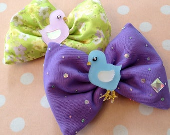 Easter Laser Cut Acrylic Baby Chick Pastel Floral and Lilac Sparkle Hair Bows