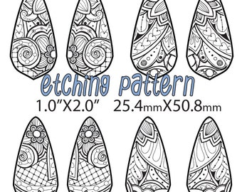 Pattern for Etching floral dangle earrings Lfishnet floral