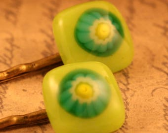 Fused Glass Bobby Pins No. 223