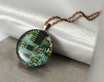 Circuit Board Necklace Green and Copper, Wearable Technology, Engineer Gift, Recycled Computer Jewelry, Geeky Necklace, Software Engineer