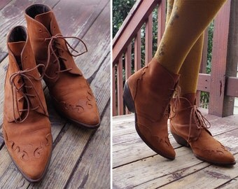 El Dorado 1980's 90's Vintage Reddish Brown Suede Leather Western Ankle Boots High Tops // size 8 M // by Ellemenno // Made in Spain