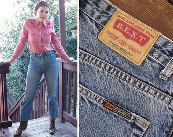 """BOOTCUT 1980's 90's Vintage High Waist Cotton Straight Leg Blue Jeans // waist 30"""" L 27"""" // by BEST Hong Xing Jeans Wear // Cowgirl"""