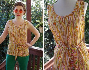 Summer REEDS 1960's 70's Vintage Golden Orange Pink + Yellow Sleeveless Floral Tunic Blouse with Belt // size Small Medium 34 36