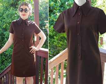 COCOA 1960's 70's Vintage Solid Dark Brown Polyester Dress with Pointed Collar + Short Sleeves // size Small Med // Deadstock w/ Store Tags