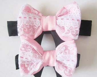 Reserved for C Three Dog bow ties lace trim in blush