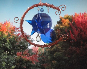 Blue Moon, Stained Glass, Wind Chime, Blue Star, Home Decor, Garden Decor, Window Hanging, Celestial, Garden Art, Copper Moon, Mobile