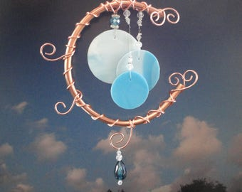 Stained Glass Wind Chime, Once in a Blue Moon, Home Decor, Garden Decor, Teal, Window Hanging, Celestial, Garden Art, Copper Moon, Mobile