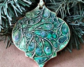 Ceramic Christmas Ornament Peacock Green edged in gold christmas ornaments