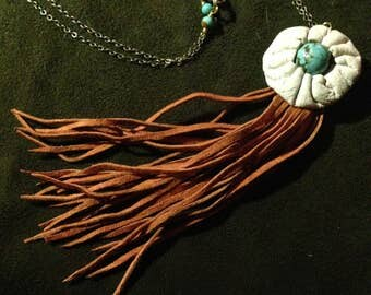 Deerskin Tassel Necklace with Turquoise and Handsewn Leather Button - Boho, Tassel Necklace, Leather Jewelry, Gemstone Pendant