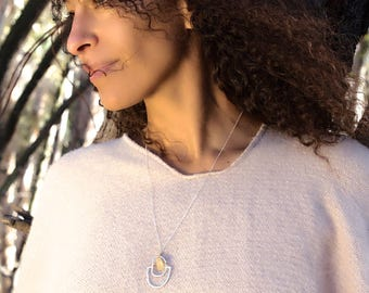 ABACUS COLLECTION, sterling silver or 14kt gold vermeil necklaces.  Necklace Modern Shape Handcrafted by Chocolate and Steel