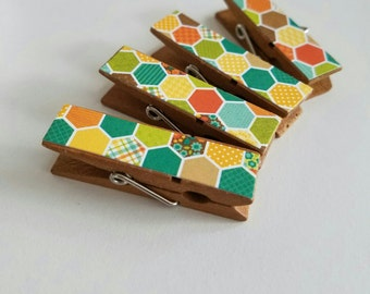 Magnets - Set of 4 - Happy Honeycomb Clothespin Clips - Hostess Gift - Ready To Ship