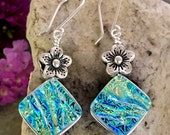 Beautiful Dichroic Glass Earrings with Flowers .. Wire Wrapped Sterling Silver Hooks