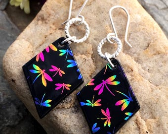 Pretty Rainbow Dragonfly Dichroic Glass Long Drop Earrings
