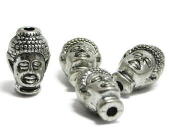Buddha Head - Buddha Beads - Silver Buddha - Antique Silver Beads - Large Hole Beads - 13x8mm - 4pcs - (1368)