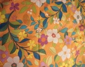 Decorator weight fabric, floral fabric, tropical look, orange, teal, green, purple, white, lime green, printed, groovy