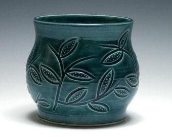 Teal Vase, Dotted Leaf Design, Teal Pottery, Ceramic Vase, Home Decor, Handmade Pottery