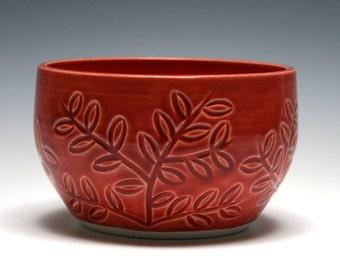 Small Red Bowl, Leaf and Branch Design, Red Pottery, Handmade Ceramics, Home Decor, Red Ceramic Bowl