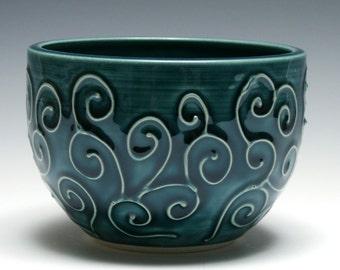 Teal Bowl, Swirling Vine Design, Blue Green Bowl, Handmade Pottery, Ceramic Bowl, Home Decor