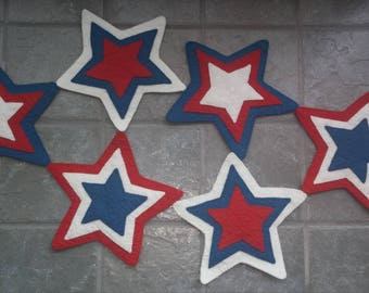 Red, White and Blue Star Table Topper,  #002