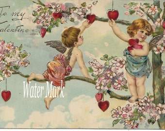 VALENTINE cupids gather hearts from a tree*O darling*Instant digital download*Great
