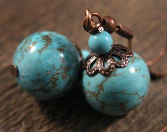 SALE Turquoise stone and antique copper handmade earrings