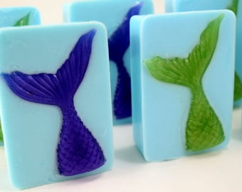 Mermaid Tail Soap, Mermaid Party Favor, Handmade Soap Bar