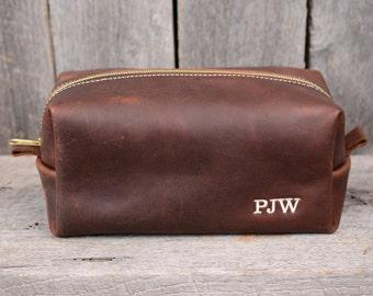 Large Arizona Leather Toiletry Bag Travel Shaving Dopp Kit With Free Monogram and Optional Interior Message Gift for Man Boyfriend Husband