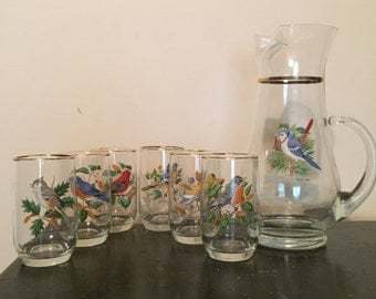 Vintage songbird pitcher and glasses set
