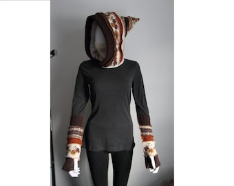 CUSTOM SLOT: Upcycled Hooded Cowl and Armwarmer Set